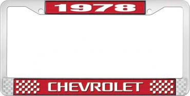 OER 1978 Chevrolet Style # 3 Red and Chrome License Plate Frame with White Lettering LF2237803C