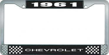 OER 1961 Chevrolet Style #1 Black and Chrome License Plate Frame with White Lettering LF2236101A