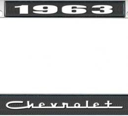 OER 1963 Chevrolet Style #5 Black and Chrome License Plate Frame with White Lettering LF2236305A