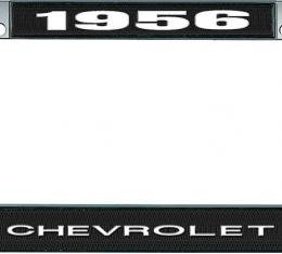OER 1956 Chevrolet Style #1 Black and Chrome License Plate Frame with White Lettering LF2235601A