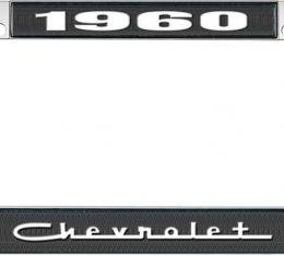 OER 1960 Chevrolet Style #5 Black and Chrome License Plate Frame with White Lettering LF2236005A