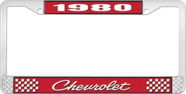 OER 1980 Chevrolet Style # 4 Red and Chrome License Plate Frame with White Lettering LF2238004C