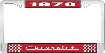 OER 1970 Chevrolet Style #5 - Red and Chrome License Plate Frame with White Lettering *LF2237005C