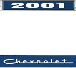 OER 2001 Chevrolet Style #5 - Blue and Chrome License Plate Frame with White Lettering *LF2230105B