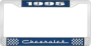 OER 1995 Chevrolet Style # 5 Blue and Chrome License Plate Frame with White Lettering LF2239505B