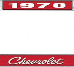 OER 1970 Chevrolet Style #4 - Red and Chrome License Plate Frame with White Lettering *LF2237004C