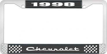 OER 1998 Chevrolet Style # 2 Black and Chrome License Plate Frame with White Lettering LF2239802A