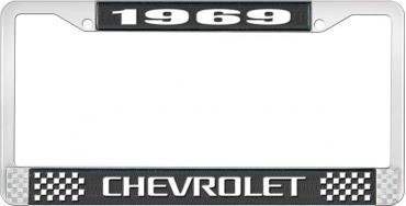 OER 1969 Chevrolet Style # 3 Black and Chrome License Plate Frame with White Lettering LF2236903A