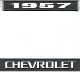OER 1957 Chevrolet Style #3 Black and Chrome License Plate Frame with White Lettering LF2235703A