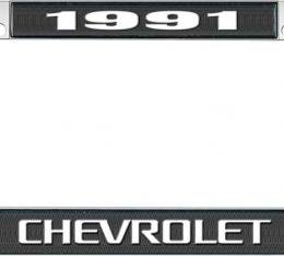OER 1991 Chevrolet Style #3 - Black and Chrome License Plate Frame with White Lettering *LF2239103A