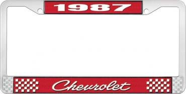 OER 1987 Chevrolet Style # 4 Red and Chrome License Plate Frame with White Lettering LF2238704C