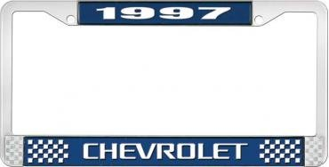 OER 1997 Chevrolet Style # 3 Blue and Chrome License Plate Frame with White Lettering LF2239703B