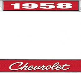 OER 1958 Chevrolet Style #4 - Red and Chrome License Plate Frame with White Lettering *LF2235804C