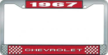 OER 1967 Chevrolet Style #1 Red and Chrome License Plate Frame with White Lettering LF2236701C