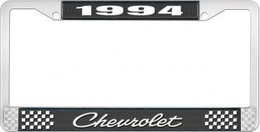 OER 1994 Chevrolet Style # 4 Black and Chrome License Plate Frame with White Lettering LF2239404A