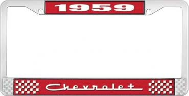 OER 1959 Chevrolet Style #5 Red and Chrome License Plate Frame with White Lettering *LF2235905C