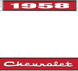 OER 1958 Chevrolet Style #2 - Red and Chrome License Plate Frame with White Lettering *LF2235802C