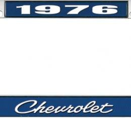OER 1976 Chevrolet Style #4 - Blue and Chrome License Plate Frame with White Lettering *LF2237604B
