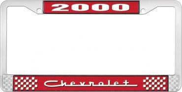 OER 2000 Chevrolet Style #5 - Red and Chrome License Plate Frame with White Lettering *LF2230005C