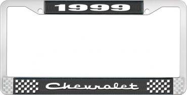 OER 1999 Chevrolet Style # 2 Black and Chrome License Plate Frame with White Lettering LF2239902A