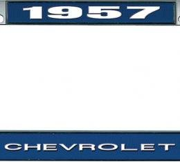 OER 1957 Chevrolet Style #1 Blue and Chrome License Plate Frame with White Lettering LF2235701B