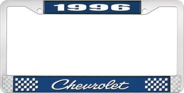 OER 1996 Chevrolet Style # 4 Blue and Chrome License Plate Frame with White Lettering LF2239604B