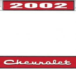OER 2002 Chevrolet Style #2 - Red and Chrome License Plate Frame with White Lettering *LF2230202C
