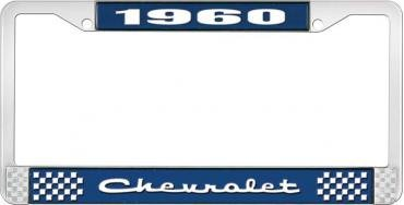 OER 1960 Chevrolet Style #2 Blue and Chrome License Plate Frame with White Lettering LF2236002B