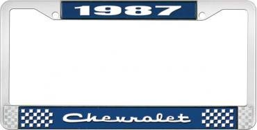 OER 1987 Chevrolet Style #2 - Blue and Chrome License Plate Frame with White Lettering *LF2238702B