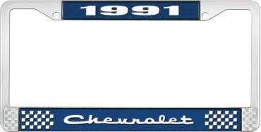 OER 1991 Chevrolet Style # 2 Blue and Chrome License Plate Frame with White Lettering LF2239102B