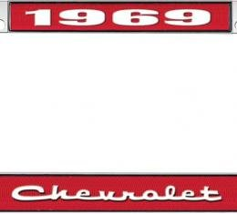 OER 1969 Chevrolet Style #2 - Red and Chrome License Plate Frame with White Lettering *LF2236902C