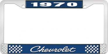OER 1970 Chevrolet Style # 4 Blue and Chrome License Plate Frame with White Lettering LF2237004B