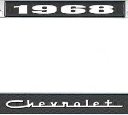 OER 1968 Chevrolet Style #5 - Black and Chrome License Plate Frame with White Lettering *LF2236805A