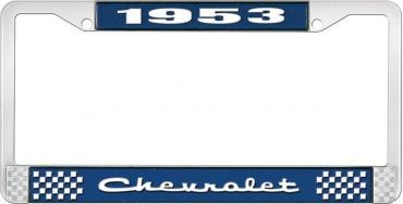 OER 1953 Chevrolet Style #2 Blue and Chrome License Plate Frame with White Lettering LF2235302B
