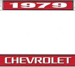 OER 1979 Chevrolet Style #3 Red and Chrome License Plate Frame with White Lettering *LF2237903C