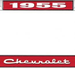 OER 1955 Chevrolet Style #2 - Red and Chrome License Plate Frame with White Lettering *LF2235502C