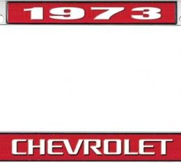 OER 1973 Chevrolet Style #3 - Red and Chrome License Plate Frame with White Lettering *LF2237303C