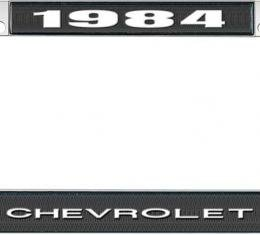 OER 1984 Chevrolet Style #1 - Black and Chrome License Plate Frame with White Lettering *LF2238401A
