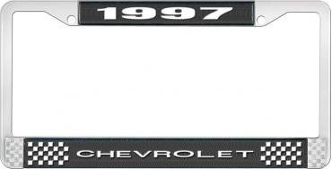 OER 1997 Chevrolet Style # 1 Black and Chrome License Plate Frame with White Lettering LF2239701A