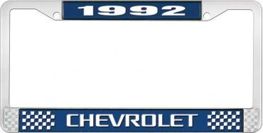 OER 1992 Chevrolet Style # 3 Blue and Chrome License Plate Frame with White Lettering LF2239203B