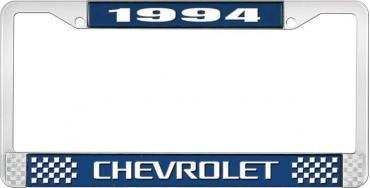 OER 1994 Chevrolet Style # 3 Blue and Chrome License Plate Frame with White Lettering LF2239403B