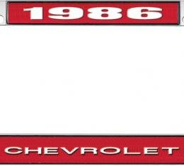 OER 1986 Chevrolet Style #1 - Red and Chrome License Plate Frame with White Lettering *LF2238601C