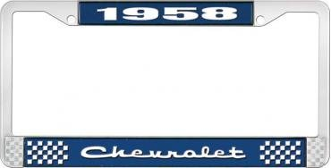 OER 1958 Chevrolet Style #2 Blue and Chrome License Plate Frame with White Lettering LF2235802B