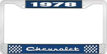 OER 1978 Chevrolet Style # 2 Blue and Chrome License Plate Frame with White Lettering LF2237802B