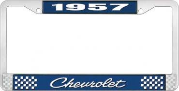 OER 1957 Chevrolet Style #4 Blue and Chrome License Plate Frame with White Lettering LF2235704B