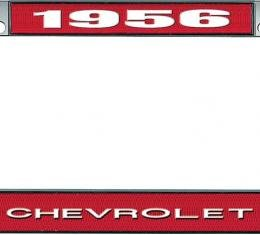 OER 1956 Chevrolet Style #1 Red and Chrome License Plate Frame with White Lettering LF2235601C