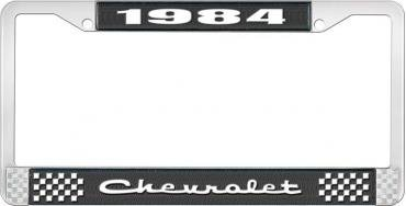 OER 1984 Chevrolet Style # 2 Black and Chrome License Plate Frame with White Lettering LF2238402A