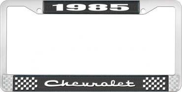 OER 1985 Chevrolet Style # 2 Black and Chrome License Plate Frame with White Lettering LF2238502A