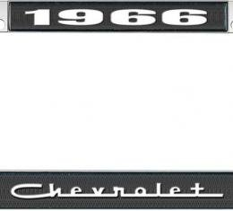 OER 1966 Chevrolet Style #5 - Black and Chrome License Plate Frame with White Lettering *LF2236605A