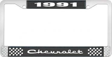 OER 1991 Chevrolet Style # 2 Black and Chrome License Plate Frame with White Lettering LF2239102A